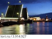 Вид на разведенный Дворцовый мост и Васильевский остров ночью (2007 год). Редакционное фото, фотограф Oksana Oleneva / Фотобанк Лори