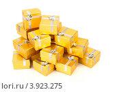 Купить «Золотые коробки с серебряной ленточкой на праздник в подарок», фото № 3923275, снято 18 августа 2012 г. (c) Tatjana Romanova / Фотобанк Лори