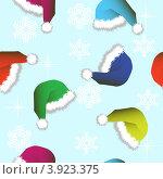 Купить «Бесшовный фон с новогодними колпаками и снежинками», иллюстрация № 3923375 (c) Фотограф / Фотобанк Лори