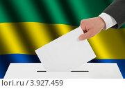 Купить «Флаг Габона и рука, опускающая бюллетень в урну», иллюстрация № 3927459 (c) Александр Макаров / Фотобанк Лори