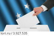 Купить «Флаг Микронезии и рука, опускающая бюллетень в урну», иллюстрация № 3927535 (c) Александр Макаров / Фотобанк Лори