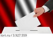 Купить «Рука опускает избирательный бюллетень в урну на фоне флага Перу», иллюстрация № 3927559 (c) Александр Макаров / Фотобанк Лори