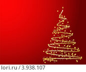 Золотая стилизованная елка на красном фоне. Новогодняя открытка. Стоковая иллюстрация, иллюстратор Чичина Марина / Фотобанк Лори