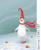 Новогодний фон, открытка.  снеговик и ёлочные игрушки на снегу. Стоковая иллюстрация, иллюстратор Калятина Наталья / Фотобанк Лори