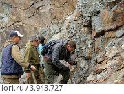 Геологические наблюдения в карьере (2012 год). Редакционное фото, фотограф Александр Игнатов / Фотобанк Лори