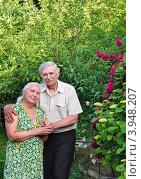 Семья пенсионеров на даче весной у цветника. Стоковое фото, фотограф Анна Мартынова / Фотобанк Лори