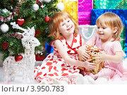 Купить «Две маленькие девочки с подарками у новогодней елки», фото № 3950783, снято 23 декабря 2011 г. (c) Дмитрий Калиновский / Фотобанк Лори