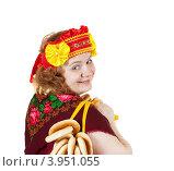 Купить «Молодая женщина в традиционных русских одеждах с баранками на белом фоне», фото № 3951055, снято 15 октября 2011 г. (c) Яков Филимонов / Фотобанк Лори