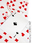 Пиковый туз, фон из игральных карт. Стоковое фото, фотограф Максим Кузнецов / Фотобанк Лори