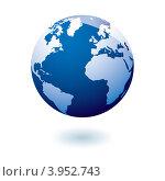 Синий глобус на белом фоне. Стоковая иллюстрация, иллюстратор Michael Travers / Фотобанк Лори