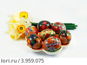 Пасхальные яйца и цветы. Стоковое фото, фотограф Анна Момот / Фотобанк Лори