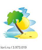 Пальма на тропическом острове. Стоковая иллюстрация, иллюстратор Якунин Алексей / Фотобанк Лори