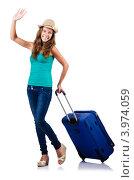 Купить «Девушка в шляпе катит чемодан за ручку и машет рукой», фото № 3974059, снято 10 июля 2012 г. (c) Elnur / Фотобанк Лори
