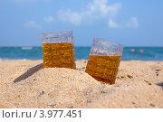Купить «Два бокала пива на солнечном пляже у моря», фото № 3977451, снято 22 октября 2012 г. (c) Ирина Балина / Фотобанк Лори