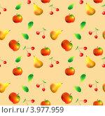 Бесшовный фон с фруктами. Стоковая иллюстрация, иллюстратор Ирина Жулябина / Фотобанк Лори