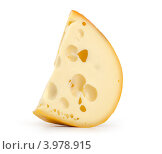 Кусок твердого сыра на белом фоне. Стоковое фото, фотограф Александр Лычагин / Фотобанк Лори