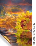 Купить «Осенний коллаж на фоне заката», иллюстрация № 3979747 (c) Наталья Спиридонова / Фотобанк Лори