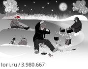 Купить «Новый год на рыбалке», иллюстрация № 3980667 (c) Ольга Анофриева / Фотобанк Лори