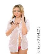 Купить «Сексуальная  блондинка на белом фоне», фото № 3984215, снято 2 апреля 2011 г. (c) Сергей Сухоруков / Фотобанк Лори