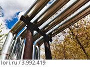 Трубы водопровода, проходящие над землей. Стоковое фото, фотограф Николай Михайловский / Фотобанк Лори