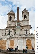 Испанская лестница и и церковь Тринита-деи-Монти. Рим. Италия (2012 год). Редакционное фото, фотограф E. O. / Фотобанк Лори