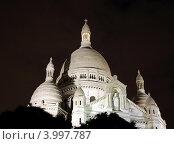Купить «Купола базилики  Святого Сердца (Sacre Coeur) ночью, Париж, Франция», фото № 3997787, снято 3 октября 2012 г. (c) Светлана Колобова / Фотобанк Лори