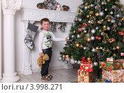 Мальчик четырех лет с плюшевым мишкой в руках наряжает елку Новый год и рождество (2011 год). Редакционное фото, фотограф Вероника Горбова / Фотобанк Лори