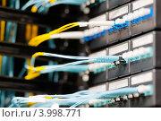 Купить «Оптические кабели, подключенные к панели в серверной комнате», фото № 3998771, снято 5 декабря 2011 г. (c) Константин Ёлшин / Фотобанк Лори