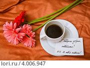 Купить «Утренний кофе в постель и признание в любви», фото № 4006947, снято 27 июня 2012 г. (c) Ольга Денисова / Фотобанк Лори