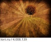 Одинокое дерево на гранжевом фоне. Стоковая иллюстрация, иллюстратор Анна Павлова / Фотобанк Лори