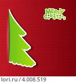 Купить «Новогодний фон с бумажными елочками», иллюстрация № 4008519 (c) Евгения Малахова / Фотобанк Лори
