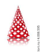 Стилизованная красная ель - рождественская иконка. Стоковая иллюстрация, иллюстратор Евгения Малахова / Фотобанк Лори