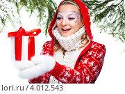 Купить «Девушка в новогодней одежде держит в руках подарок», фото № 4012543, снято 25 декабря 2011 г. (c) Podvysotskiy Roman / Фотобанк Лори