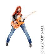Купить «Рыжая девушка в кожаной куртке с гитарой руках на белом фоне», фото № 4016443, снято 28 марта 2009 г. (c) Syda Productions / Фотобанк Лори
