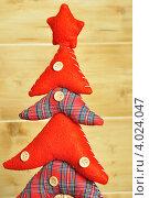 Новогодняя елка из ткани с пуговицами. Стоковое фото, фотограф Елена Шуршилина / Фотобанк Лори