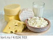 Разные сыры, творог и молоко. Стоковое фото, фотограф Julia Ovchinnikova / Фотобанк Лори