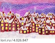 Купить «Город из сновидений, в малиновых тонах, рождественская открытка, акварель», иллюстрация № 4026847 (c) ИВА Афонская / Фотобанк Лори