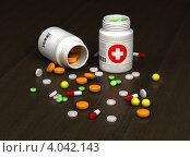 Купить «Разнообразные таблетки и баночки с лекарствами на темном фоне», иллюстрация № 4042143 (c) Александр Чернышёв / Фотобанк Лори