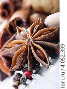Орехи, специи и пряности на деревянном столе. Стоковое фото, фотограф Tatjana Baibakova / Фотобанк Лори
