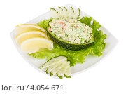 Купить «Салат из крабового мяса и икры с кусочками фруктов», фото № 4054671, снято 3 апреля 2012 г. (c) Андрей Старостин / Фотобанк Лори