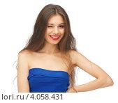 Купить «Юная девушка с темными волосами в синем платье на каблуках на белом фоне», фото № 4058431, снято 27 июня 2012 г. (c) Syda Productions / Фотобанк Лори