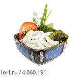 Купить «Тарелка с пельменями и закуской», фото № 4060191, снято 20 сентября 2012 г. (c) Андрей Старостин / Фотобанк Лори