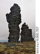 Купить «Столбы выветривания на Северном Урале», фото № 4060707, снято 10 сентября 2009 г. (c) Денис Нечаев / Фотобанк Лори