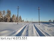 Купить «Энергетический пейзаж. Зима. Строительство высоковольтной воздушной линии электропередач на месторождение в Западной Сибири», эксклюзивное фото № 4073551, снято 4 ноября 2012 г. (c) Валерий Акулич / Фотобанк Лори