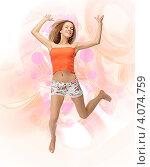 Купить «Юная девушка в цветных шортах прыгает», фото № 4074759, снято 25 июня 2012 г. (c) Syda Productions / Фотобанк Лори