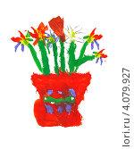 Купить «Детский рисунок. Букет цветов», иллюстрация № 4079927 (c) Стефания Домогацкая / Фотобанк Лори
