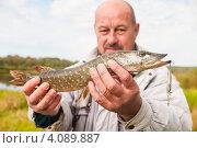 Купить «Рыбак с пойманной щукой фокус на щуке», эксклюзивное фото № 4089887, снято 2 октября 2012 г. (c) Игорь Низов / Фотобанк Лори