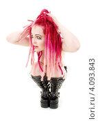 Купить «Девочка-подросток с розовыми дредами на белом фоне», фото № 4093843, снято 15 ноября 2008 г. (c) Syda Productions / Фотобанк Лори