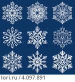 Купить «Рождественские снежинки на синем фоне», иллюстрация № 4097891 (c) Катыкин Сергей / Фотобанк Лори