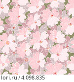 Купить «Бесшовный фон с розовыми цветами», иллюстрация № 4098835 (c) Катыкин Сергей / Фотобанк Лори